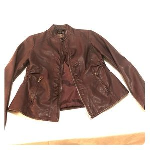 Stage Baccini Burgundy faux leather jacket
